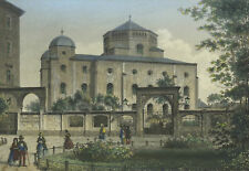 "Dresden - "" The New Synagogue "" - Colored Steel Engraving 1857"