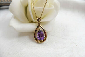 Stunning 9ct Yellow Gold 1ct Amethyst Pendant Necklace Italy Gold Plated Chain