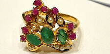 WOW , LADIES  EMERALD  RUBY & PEARL  CLUSTER RING SET IN 22 CT GOLD SIZE P 1/2