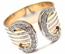 Authentic Cartier 18k Tri Color Gold Diamond Double C Band Ring Size 64 US 10.75