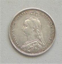 Queen Victoria Jubilee Head, 1888, Sixpence, Fine Condition,19.3 mm Diam{E957}