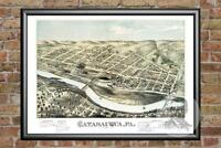 Old Map of Catasauqua, PA from 1873 - Vintage Pennsylvania Art, Historic Decor