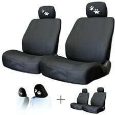 New Paws Headrest + 2 Front Black Cloth Car Truck Seat Covers For VW