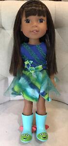"""WellieWishers ASHLYN Amrican Girl Doll 14"""" Plastic Brn Hair/Eyes 5+ Dressed EUC"""