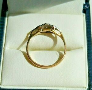18 Carat SOLID YELLOW GOLD & PLATINUM SOLITAIRE DIAMOND RING  Size K1/2