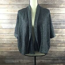 Cable and Gauge Sweater Gray Sparkly Open Front Cardigan Size M