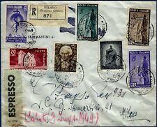 1949 - Raccomandata da Milano - Rara affrancatura multipla con commemorativi