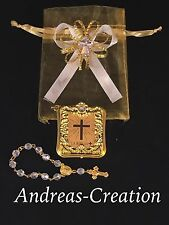 12 Mini Bibles Baptism Gold Favor With Rosary, Recuerdo De Bautizo