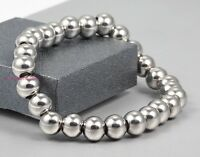 Women's Men's 6/8mm Rosary Round Beads 316L Stainless Steel Chain Bracelet 7-11""