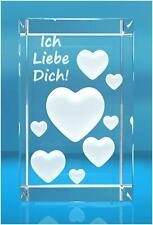 """3d XL Glaskristall Quader viele Herzen mit Text """"ich liebe Dich """""""