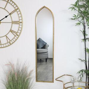 Tall Slim Gold Arch Mirror vintage modern shaped metallic bathroom bedroom decor