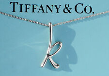 Tiffany & Co Elsa Peretti Alfabeto Letra Inicial K Collar De Plata Esterlina
