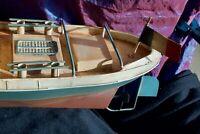 Ancien Bateau-jouet en tôle peinte années 1950 - Magnifique état pour collection