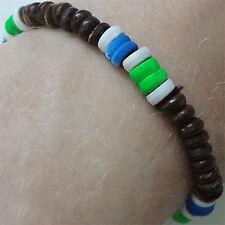 Wood Neon Bead Surfer Bracelet Wristband Bangle Mens Womens Boys Girls Jewelry