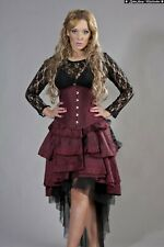Gothic Victorian Steampunk Vintage Layered Taffeta Lace Bustle Skirt size 14-16