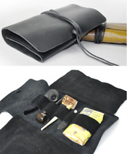 pipe bag tool Cover pouch holder storage bag cow Leather customize black Z701