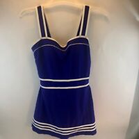 NWT Shore Shapes Women's One Piece Padded Slimming Swimsuit Swim Dress Blue 12