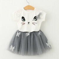 2PCS Kids Baby Girls Outfits Clothes T-shirt Tops + Tutu Dress Skirt Sets  2-7Y