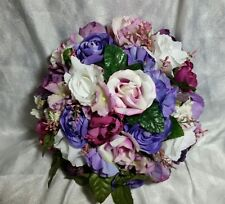 Purples and pinks wedding flowers 27pc set. Round bouquet +garland
