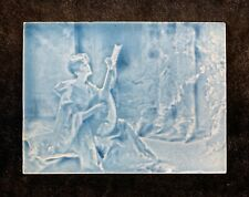 Antique Blue Tile Art Nouveau Woman with Guitar #1