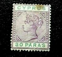 Cyprus:1894 -1896 Queen Victoria 30Pa in 2 Colors Collectible Stamp.