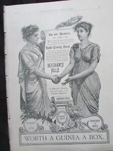 Original Illus. London News Print 1888 Advertisement Beecham's  Pills
