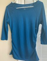 NWT New York & Company Women's 3/4 Sleeve Stretch Teal Blue Shirred Sides Top XS