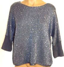 New Forever 21 S, small Blue 3/4 sleeve sequined Sweater