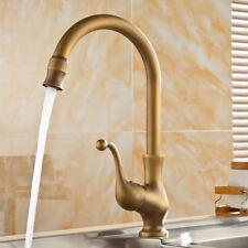 Antique Kitchen Brass Swivel Spout Faucet Single Handle Vessel Sink Mixer Tap US