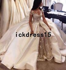 Satin Luxury White/Ivory Bridal Ball Gown Appliques Wedding Dress Custom 6 8 10+