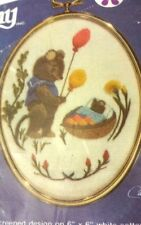 """VINTAGE CATHY GOLDEN OVALS """"CURIOSITY"""" #1274 EMBROIDERY KIT OPENED &  COMPLETE"""
