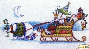 """DIMENSIONS """"Snow Bear and Sleigh"""" Snowman Christmas Counted Cross Stitch Kit"""