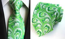 Green and White Patterned Handmade 100% Silk Tie
