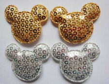 "50 Pcs Padded 1.5"" Mouse Head w/Sequin Appliques-Gold/Silver AD029"