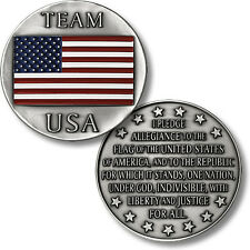 Pledge of Allegiance Challenge Coin Team USA American Flag 50 Stars US Patriotic