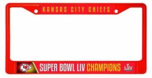 Kansas City Chiefs Super Bowl LIV RED Champions Metal License Plate Frame
