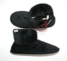 Dearfoams Memory Foam Slippers Booties Velour Size XL 11-12 Black NEW