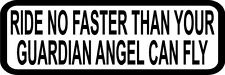 """3"""" Ride No Faster Guardian Angel Decal Funny Helmet Hard Hat Motorcycle Sticker"""
