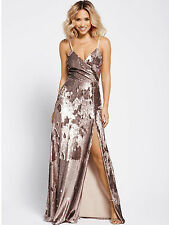 Myleene Klass Wrap Sequin Maxi Dress - Gold - Size 16