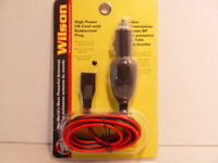 POWER CORD 3 PIN, 14 GAUGE WITH 15 AMP FUSED CIGARETTE PLUG FOR CBs WILSON 6' -
