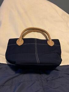 Lillian Vernon Mini DK Blue Cotton Canvas Tote Small Handbag Beige Leather Strap