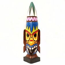 50cm Hand Carved Wooden Tiki Totem Head Countertop Birthday Mens Gift Man Cave