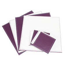 Square Placemats & Coasters Set Off White Purple Reversible Faux Leather Mats
