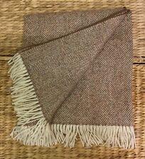 Soft Pure Wool Fringed Throw/Blanket,Natural/Cream Herringbone UK WOVEN.