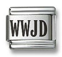 Laser Italian Charms WWJD Fit 9 mm Stainless Steel Link Bracelets Religious