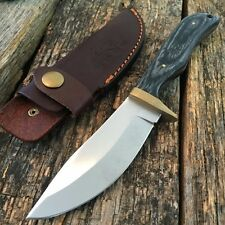 "9"" Hinterland Hunting Skinner Knife Black Wood Handle Leather Sheath BOWIE -T"