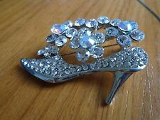 Shoe & Flowers Brooch In Silver Coloured Metal & White Stone's
