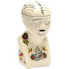 PHRENOLOGY HEAD SMALL TATTOO FLASH STORAGE POT JAR UNUSUAL GIFT NEW BOXED