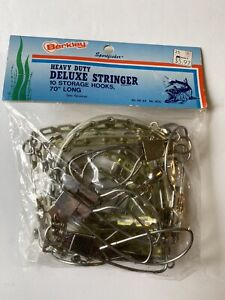 "Vintage Berkley Heavy Duty DELUXE Fish Stringer 10 Hooks 70""Long (Metal)"