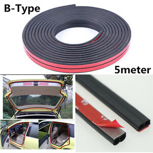 Weatherstrip B-type Car Door Boot Seal Strip Edge Trim 5M 16ft Rubber Seal Tape